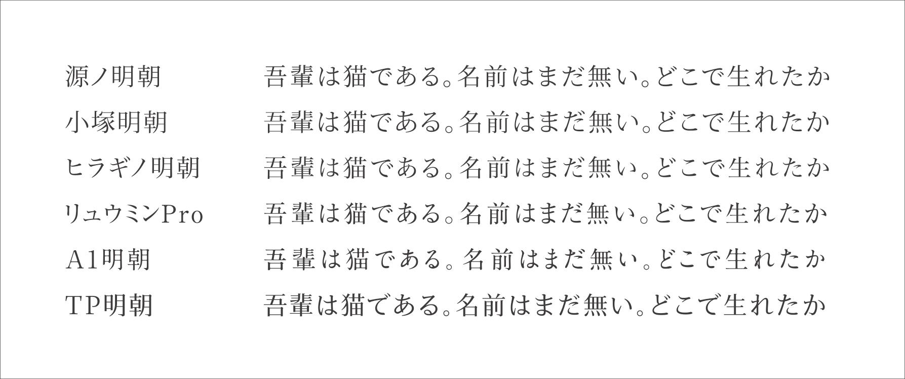 比較:源ノ明朝/小塚明朝/ヒラギノ明朝/リュウミンPro/A1明朝/ヒTP明朝